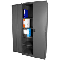 STEELCO STATIONERY CUPBOARD 3 SHELVES 1830 X 914 X 436MM GRAPHITE RIPPLE