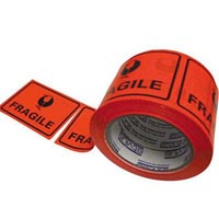 STYLUS PRINTED PACKAGING LABELS FRAGILE 75 X 50MM FLUORO ROLL 500
