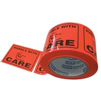 STYLUS PRINTED PACKAGING LABELS HANDLE WITH CARE 75 X 50MM FLUORO ROLL 500
