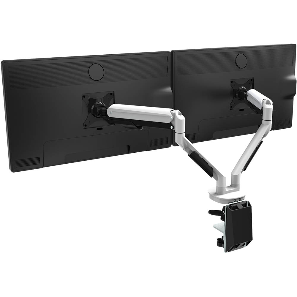 Image for CUTLASS DOUBLE MONITOR ARM WHITE from Connelly's Office National