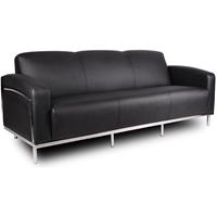 SIENNA LOUNGE THREE SEATER CHROME FRAME PU COVER BLACK