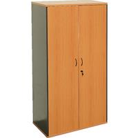 OXLEY FULL DOOR STORAGE CUPBOARD 900 X 450 X 1800MM BEECH/IRONSTONE