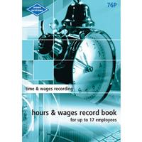 ZIONS HOURS AND WAGES RECORD BOOK POCKET UP TO 17 EMPLOYEES