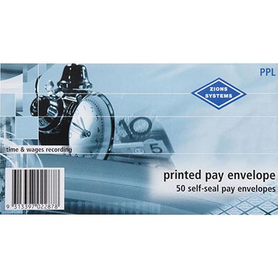Image for ZIONS PRINTED PAY ENVELOPES SELF SEAL 90 X 165MM PACK 50 from Axsel Office National